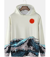 sudadera con capucha de manga larga con bolsillo de canguro con estampado de paisaje informal para hombre