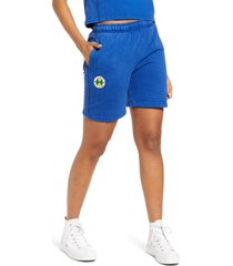 cross colours fleece circle logo shorts, size x-large in royal mineral at nordstrom