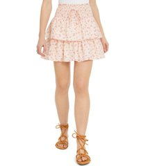 be bop juniors' printed tiered eyelet mini skirt