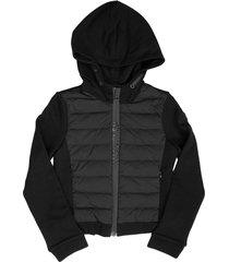 moncler paneled bomber jacket black