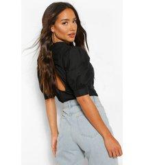cotton poplin open back blouse, black