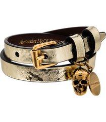 alexander mcqueen wrapped skull bracelet - gold
