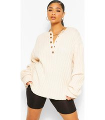plus knitted rib button down sweater, stone