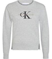 sweater monogram embro gris calvin klein