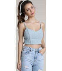 top cropped jeans feminino com amarração decote v azul claro