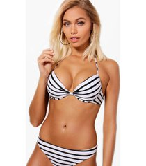 mix & match nautical push up plunge bikini top, black