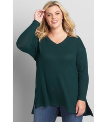 lane bryant women's softest touch step-hem tunic top 14/16 deep teal