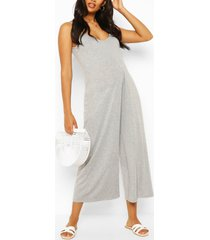 maternity slouchy strappy jumpsuit, grey marl