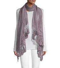 la fiorentina women's lace trim scarf - blue