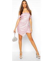glitter sequin bardot panel mini dress, pink