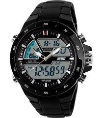 skmei 1016 reloj hombre analogo digital militar - negro