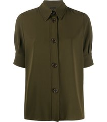 aspesi military style button front shirt - green