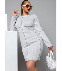 akira plus good work long sleeve mini dress