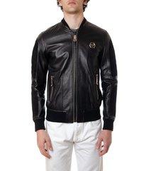 philipp plein black leather logo jacket