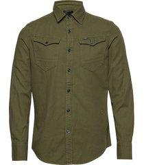 arc 3d slim shirt l\s skjorta casual grön g-star raw