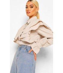 blouse met extreme ruchesmouwen shirt, steenrood