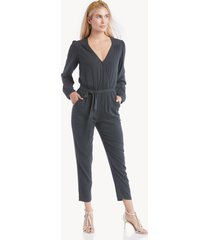 sanctuary women's desk to dinner wrap jumpsuit in color: jade stripe size xs from sole society