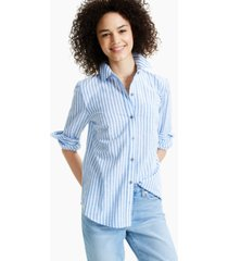 style & co petite striped boyfriend shirt, created for macy's