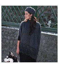 alpaca blend poncho and hat, 'princess grey' (peru)