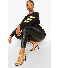 faux leather lace up legging, black