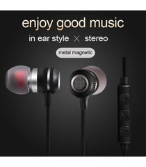 audífonos magnético estéreo deportivos, kdk-205 auriculares intrauditivos de 3.5 mm profesional en el oído de metal audífonos (plata)