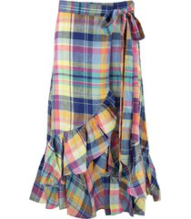ralph lauren madras linen wrap skirt