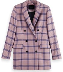 scotch & soda 163650 0589 houndstooth checked classic double-breasted blazer combo j