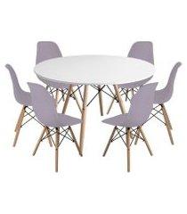 kit mesa jantar eiffel 120cm branca + 6 cadeiras charles eames - cinza