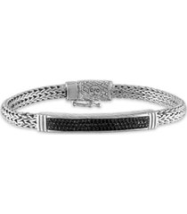 esquire men's jewelry black diamond bar woven link bracelet (5/8 ct. t.w.) in sterling silver, created for macy's