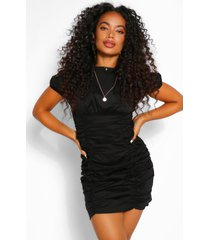 petite cotton ruched short sleeve mini dress, black