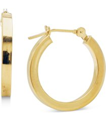 14k gold earrings, polished square hoops