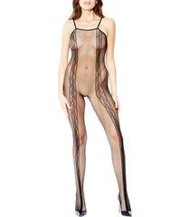 women's hauty fishnet hosiery bodysuit, size one size - black