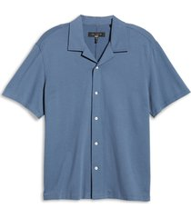 men's rag & bone avery knit short sleeve button-up camp shirt, size xx-large - blue