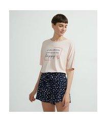 pijama curto em viscolycra estampa floral e frase | lov | rosa | g