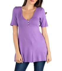 24seven comfort apparel quarter sleeve tunic top with button detail