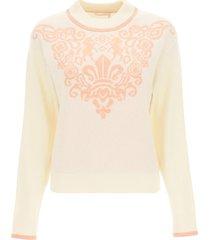 see by chloé wool sweater with fleur de lis motif