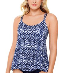 swim solutions printed pleated-front tankini top, created for macy's women's swimsuit
