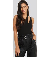na-kd party one shoulder cut out body - black