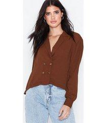 nly trend button blazer shirt festblusar