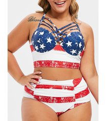 american flag lattice ruched plus size bikini swimsuit
