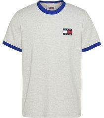 tommy hilfiger dm0dm10280 pj4 silver grey cobalt badge ringer t-shirt jeans