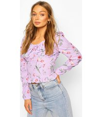 floral print tie front frill detail top, lilac