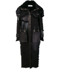 almaz fur inserts midi coat - black