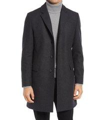 men's hugo migor wool blend overcoat, size 48r - grey