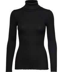 silk t-shirt regular ls roller neck turtleneck polotröja svart rosemunde