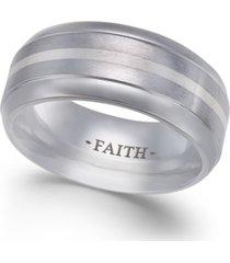 men's faith striped cobalt ring