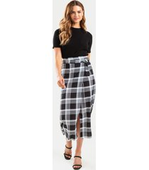 women's gayla front buckle plaid midi skirt in black by francesca's - size: m