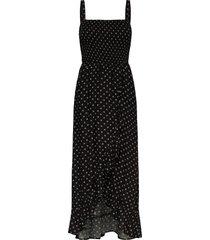 smocked midi dress knälång klänning svart hollister