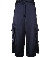 sies marjan sidney crinkled satin elongated cargo shorts - blue