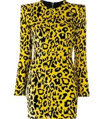 alex perry velvet leopard print dress - yellow